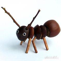 Mravenec z malých kaštanů, lískového oříšku, větviček a sirek nabarvených vodovkami