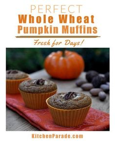 Perfect Whole Wheat Pumpkin Muffins ♥ KitchenParade.com, healthy pumpkin muffins that stay fresh for days. Moist and spicy with great texture. Pumpkin Cream Cheese Muffins, Pumpkin Muffin Recipes, Cheese Pumpkin, Pumpkin Puree, Starbucks Pumpkin, Stay Fresh, Healthy Pumpkin, Weight Watchers Meals, New Recipes