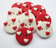 "10 x Love hearts - set of 10 polymer clay buttons ( 3/4"")"