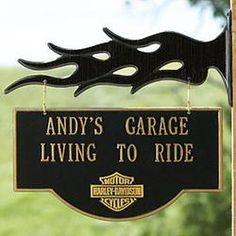 harley davidson garage ideas | Gift Idea: Personalized HARLEY-DAVIDSON Garage Sign