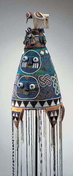 Africa | Crown (adénlá) from the Yoruba people of Nigeria | 20th century | Glass beads, fiber, cloth, thread