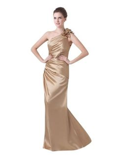 Amazon.com: Topwedding One Shoulder Ruched Elastic Satin Sheath Floor Length Evening Dress with 3D Flower, Womens: Clothing