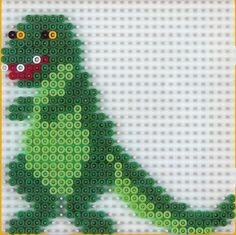 Dino hama beads by amelielac Melty Bead Designs, Melty Bead Patterns, Hama Beads Patterns, Beading Patterns, Perler Bead Disney, Perler Bead Art, Easy Mother's Day Crafts, Pearl Beads Pattern, Fair Isle Knitting Patterns