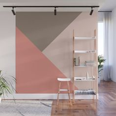 Shapes in Soft Colors on Dusty Rose Wall Mural by blerta Bedroom Wall Designs, Bedroom Decor, Wall Decor, Geometric Wall Paint, Triangle Wall, Concrete Wall, Deco Design, Room Paint, Room Colors