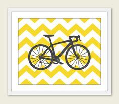 chevron bike poster kids room