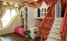 room for two kids- beds, drawers in the stairs, play area, and slide