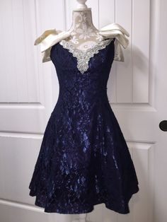 Vtg 80s Prom Dress Navy Blue Zum Zum Lace Giant Bow Shoulders Tulle Cocktail #zumzum #Party