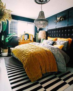 Comfy Eclectic Master Bedroom Decor Ideas and Remodel bedroomdecor bedroom… Funky Bedroom, Home Bedroom, Bedroom Decor, Eclectic Bedrooms, Dark Master Bedroom, Master Bedrooms, Bedroom Modern, Home Interior, Interior Design