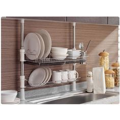 Merveilleux Stainless Fixing Pole 2 Tiers Dish Drying Rack Drainer Dryer Tray Cup  Storage