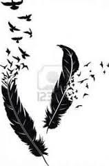 Find Two Stylized Feathers Scattering Birds Form stock images in HD and millions of other royalty-free stock photos, illustrations and vectors in the Shutterstock collection. Head Tattoos, Body Art Tattoos, Sleeve Tattoos, Tatoos, Feather Tattoo Design, Feather Tattoos, Birds Flying Away, Native Tattoos, Tattoo Stencils
