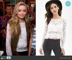 Maya's white lace ruffled top on Girl Meets World.  Outfit Details: http://wornontv.net/52094/ #GirlMeetsWorld