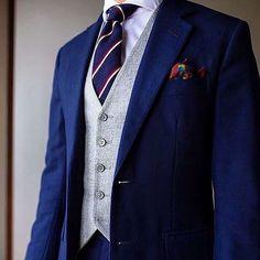 @paulluxsartoria has a fantastic blue suit and gray vest combination.  The vest softens the look! Excellent style!! #dapper #dapperman #dappermen #pocketsquare #formen #fashion #sharp #mensfashions #dappercoat #dappersuit #dapperstyle #dapperfashion #suit #suits #suitandtie #sharpsuit #man #mens #menstyle #menswear