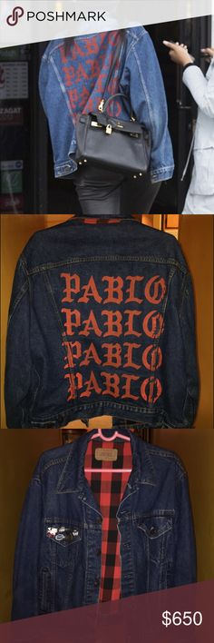 """VINTAGE """"PABLO"""" JACKET. AS SEEN ON KYLIE JENNER! 100% Authentic and Vintage Dark Denim PABLO Jacket BY Kanye West. Purchased at NYC Pablo Pop Up Shop. Red Flannel inside the jacket. SIZE L. ABSOLUTELY NO TRADES! Pablo by Kanye West Jackets & Coats Jean Jackets"""