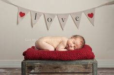 Newborn Love Banner Baby On Crate Portrait Photography