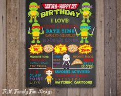 First Birthday TMNT Chalkboard Teenage by FaithFamilyFunDesign