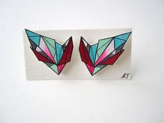COLOURFUL GEOMETRIC earrings // unique handdrawn by AnneTranholm