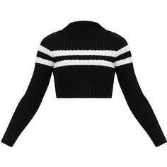 Black Stripe Detail Cropped Knitted Jumper (190 MXN) ❤ liked on Polyvore featuring tops, sweaters, jumpers sweaters, jumper top, cropped jumper, cropped sweater and crop top