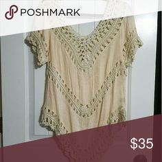 Cute knitted top Cream in color see through in knitted sections of the top. This is the last one I have in this color! All new with tags from my Boutique. Tops Tees - Short Sleeve