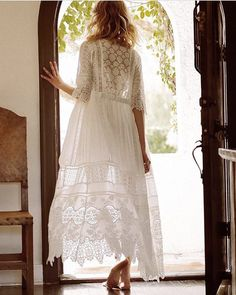 Clothes for Romantic Night - Spell and the Gypsy Collective Aurora Gown at Free People Clothing Boutique - If you are planning an unforgettable night with your lover, you can not stop reading this! Boho Bride, Boho Wedding Dress, Wedding Dresses, Romantic Night, Romantic Lace, Dress With Cardigan, Long Sleeve Wedding, Colorful Fashion, Boho Chic