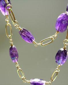 opera length amethyst goddess strand on 14k gold fill. adove fine jewelry.