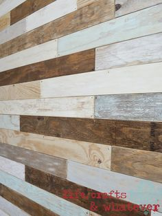 Life Crafts & Whatever: My plank wall, finally idea for planks for a sliding window treatment Pallet Wall Bedroom, Pallet Walls, Pallet House, Pallet Furniture, Furniture Design, Diy Wood Wall, Wood Pallets, Pallet Benches, Pallet Bar