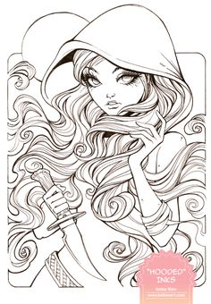 """""""Hooded"""" inks - now time for a tea wash and markers! ©Kellee Riley and KelleeArt Design Studio, LTD. Fairy Coloring Pages, Free Adult Coloring Pages, Coloring Pages To Print, Printable Coloring Pages, Coloring Books, Colorful Drawings, Cool Drawings, Copics, Fantasy"""