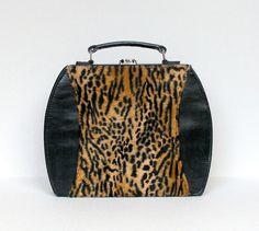 Vintage Animal Print  Makeup Case 1960s Black Faux Leather Leopard Print Case