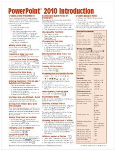 Microsoft PowerPoint 2010 Introduction Quick Reference Guide (Cheat Sheet of Instructions, Tips  Shortcuts - Laminated Card)