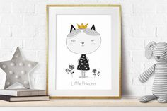 """Nursery Prints, Nursery Cat Decor, Girl Nursery, Little Princess, Monochrome nursery, Baby girl gift, Printable, Black white Wall Art, Gold.  ❥ This beautiful and genuine handmade monochrome nursery art print features a cute black and white cat illustration with a gold crown, on a white background with lovely flowers, accompanied with a quote: Little Princess"""" - Perfect for a new baby girls nursery!  ❥ This art print is a replica of a GENUINE HAND-MADE illustration designed by me, to bring a…"""