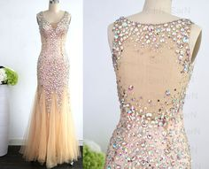 Mermaid Champagne Long Prom Dresses Champagne Tulle por SarNDresses
