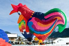Rooster hot air balloon at the Hot Air Balloon Festival at Château-d'Oex, Switzerland, 2010 - photo by losvizzero, via Flickr