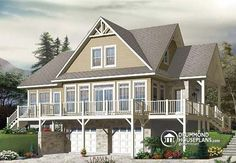 W3914-v1 - Lakefront Country Rustic Chalet House Plan With Large Master Suite…