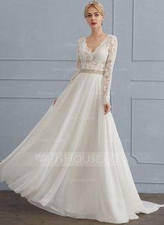 [Kr 1 443] A-linjeformat V-ringning Court släp Chiffong Bröllopsklänning med Beading