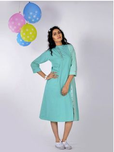This trendy Aquamarine Cotton Shirt Dress from Indian August can be style the way you want to. Team it up with sneakers and you're ready for a casual look. Young and fresh, totally you!
