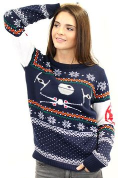 On Sale Free Shipping - size small - Star Wars X-Wing Run Ladies Christmas Sweater Jumper