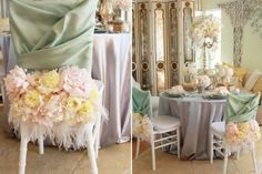 Wedding Chair Swag Decorations - A very French, very lovely vintage wedding chair dressing with feathers, florals and fabric in the sweet hues of mint green and peachy pink. #Wedding #Chair #Swag #Decoration