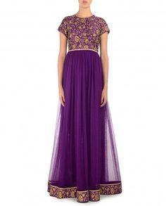 Royal Purple Anarkali Suit with Golden Floral Yoke