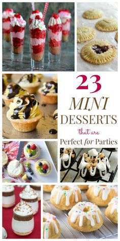 Catering entertaining crowds desserts savoury 23 Mini Desserts that are Perfect for Parties - from petite pies and pint-sized parfaits to tiny tarts and dainty donuts, all the best miniature sweet treats for any occasion! Mini Desserts, Potluck Desserts, Bite Size Desserts, Party Desserts, Just Desserts, Delicious Desserts, Desserts For Bridal Shower, Finger Desserts, Mini Dessert Recipes