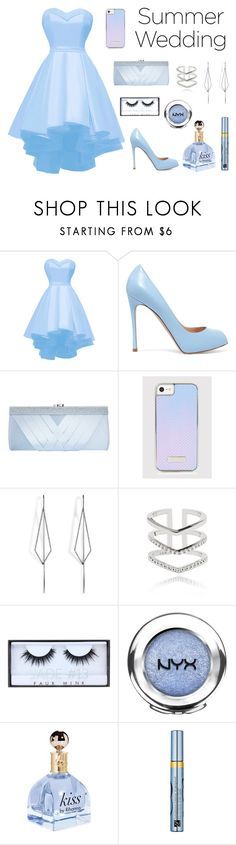 """""""Blue Crush"""" by heckmannata ❤ liked on Polyvore featuring Gianvito Rossi, GCGme, Diane Kordas, Astrid & Miyu, Huda Beauty, NYX, Estée Lauder, Blue and day"""