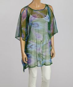 Another great find on #zulily! Green & Purple Peacock Feather Tunic #zulilyfinds
