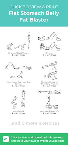 Flat Stomach Belly Fat Blaster – click to view and print this illustrated exercise plan created with #WorkoutLabsFit