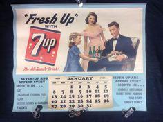 7-Up Soda Calendar Litho Sign 1952 Original Advertising General Store Family