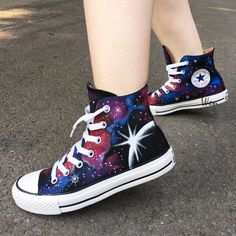 Converse Galaxy Planet Hand Painted High Top Canvas Shoes for Women Painted Converse, Painted Canvas Shoes, Hand Painted Shoes, Converse Shoes High Top, Cute Converse, High Top Sneakers, Converse Style, Galaxy Shoes, Galaxy Converse