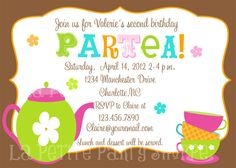 Partea Invitations Tea Party Birthday Mod Retro Mad Hatter Invites