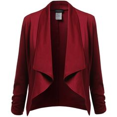 Awesome21 Women's Lapel Long Sleeve Short Suit Blazer Jacket ($20) ❤ liked on Polyvore featuring outerwear, jackets, blazers, red jacket, red blazer, long sleeve jacket, blazer jacket and short jacket