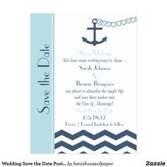 Wedding Save the Date Postcard - Nautical This wedding save the date postcard features a nautical design in shades of blue. A chevron zigzag sea appears along the bottom and an anchor with a heart chain is being tossed into the sea. All of your save the date details appear between the anchor and the sea to make a fun and unique nautical save the date wedding postcard. Copyright henishouseofpaper