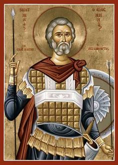 St. Mena, I have never seen this icon of him before!