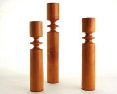 Danish Modern Style Wood Candle Holder Set of 3 by Zetro on Etsy