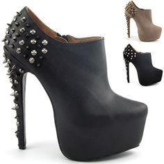 d83cec6cf309a Essex Glam Ankle Boots Womens Studded Stiletto High Heel Ladies New
