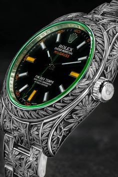 Rolex Oyster Perpetual Milgauss Cannabis Weed Marijuana Custom Timepieces Watches Third Eye Assembly Handmade Engraving The world's first marijuana-themed luxury watch. Rolex Oyster Perpetual, Casio Vintage, Vintage Watches, Rolex Watches For Men, Luxury Watches For Men, Wrist Watches, Men's Watches, Watch Engraving, Swiss Army Watches
